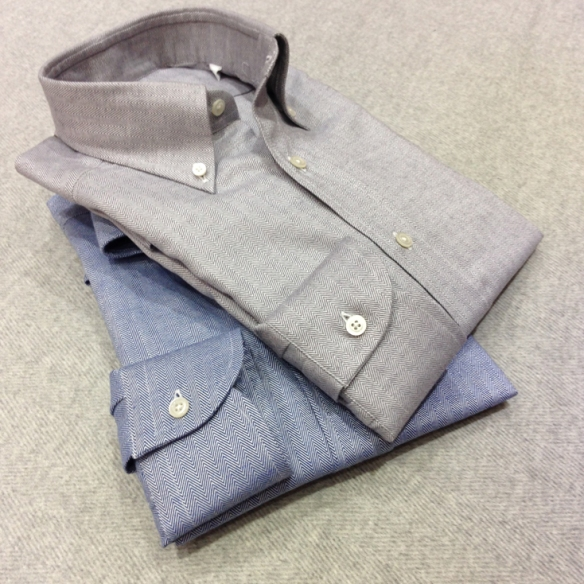 Grey and Blue Herringbone patterned Brushed cotton shirts