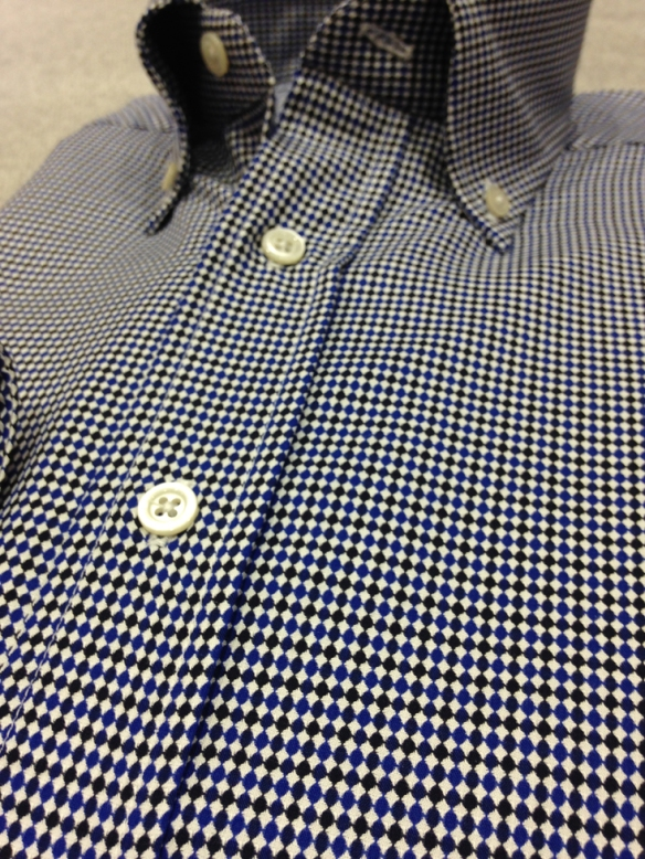 Blue and Dark Blue woven patterned shirt