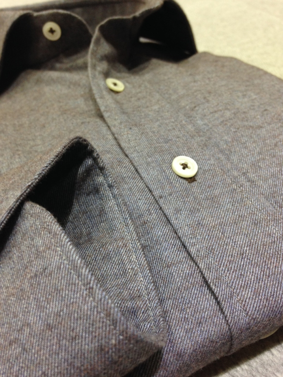 Grey & Brown Brushed cotton shirt