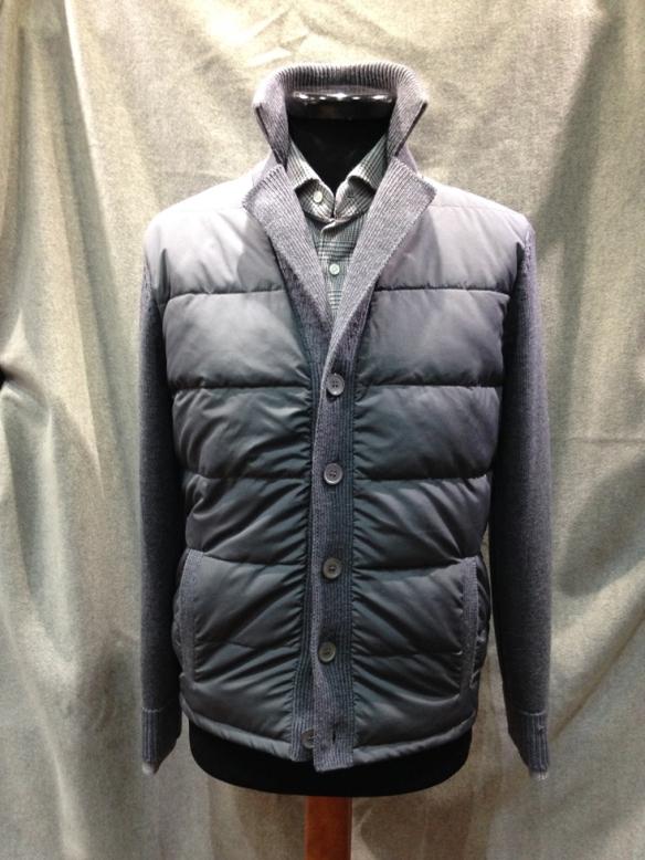 Mid Grey Nylon fronted cardigan