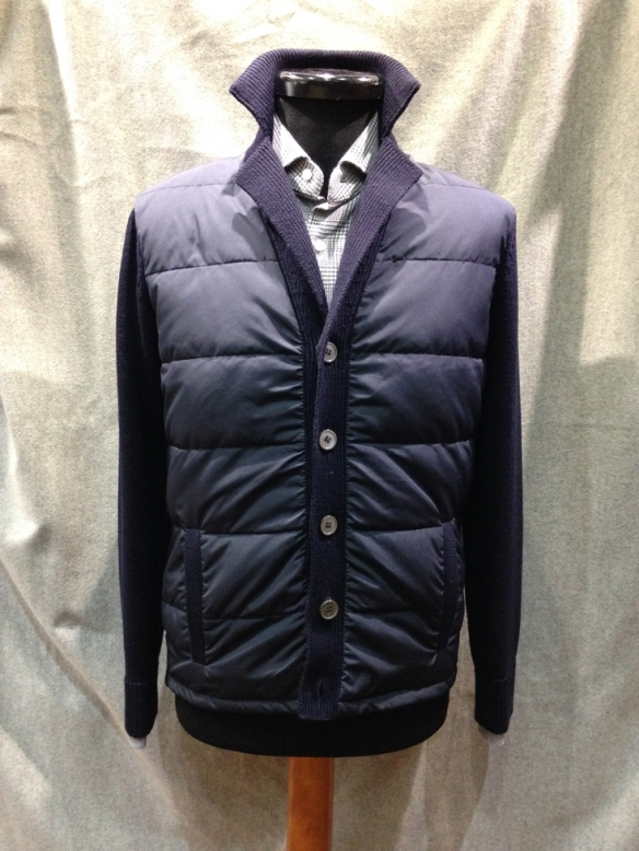 Navy Blue Nylon fronted cardigan