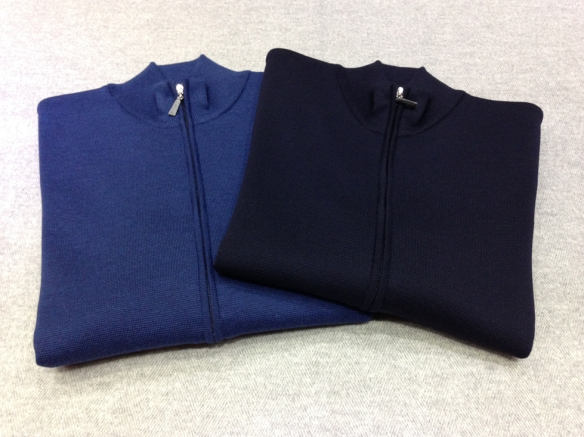 Dark Blue and Mid Blue Milano stitched Merino wool zip cardigans