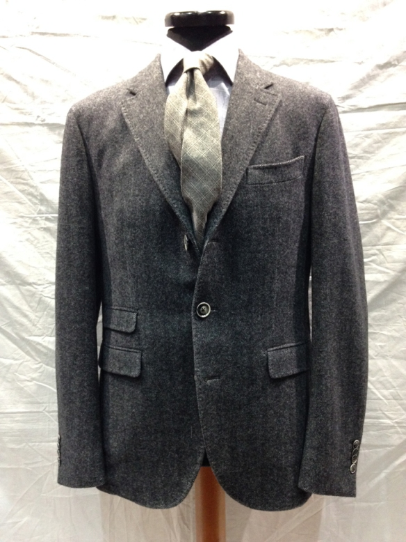 Unlined Wool (96%) & Cashmere (4%) Grey Herringbone Jacket