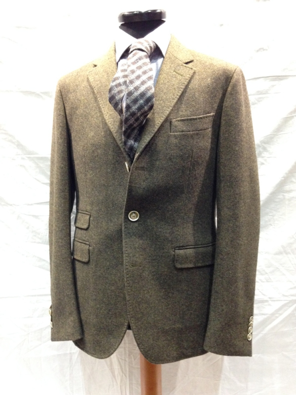 Unlined Wool Herringbone Jacket