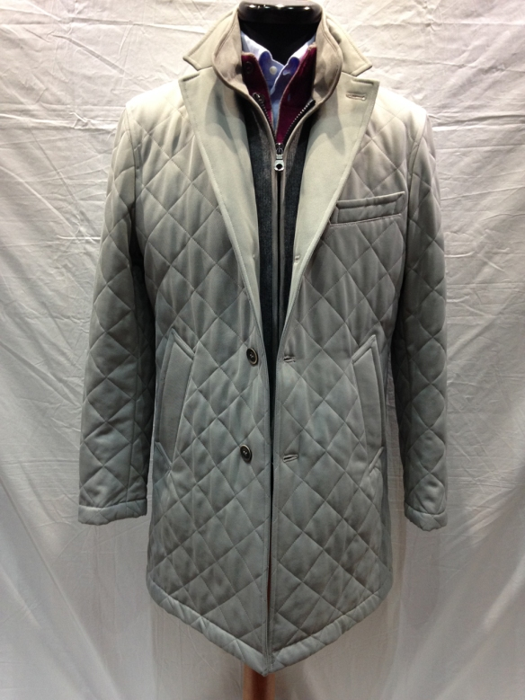 Light Stone coloured Quilted Coat with Grey insert
