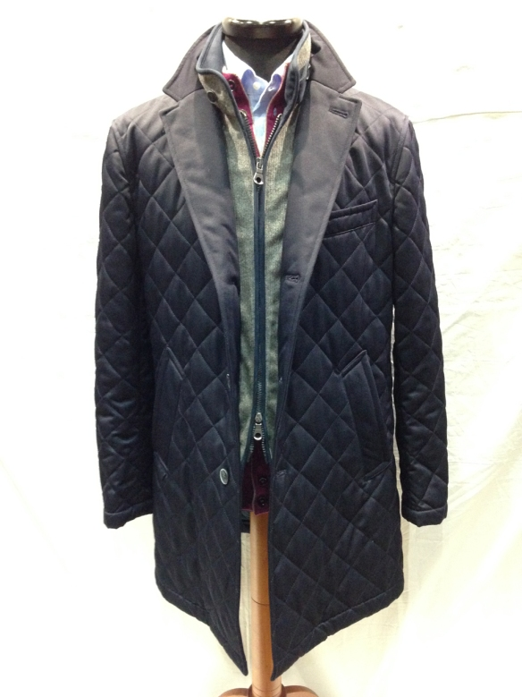 Navy Blue Quilted Coat with Grey insert