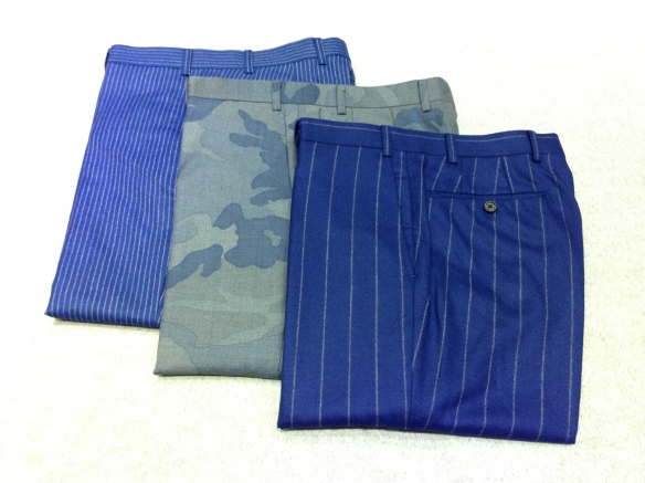 Flannel Striped Trousers and Wool Camouflage Trousers