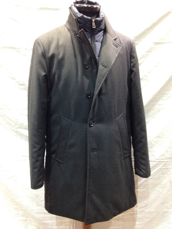 Microfiber Coat with removable liner in Grey and then in Blue