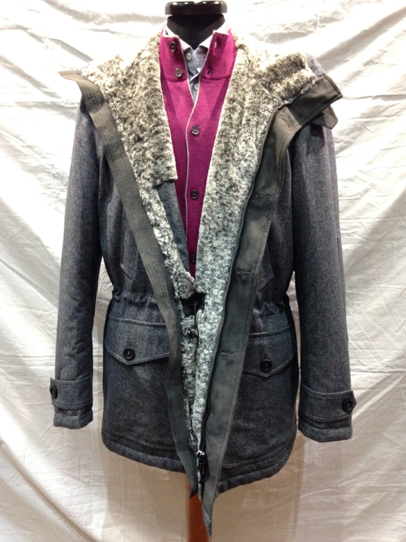 My Football Coat: flannel parka lined with faux fur in Grey and then Blue