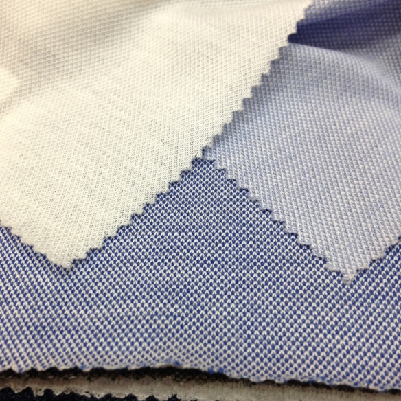 White, Light Blue and Blue Cotton Pique (100% Cotton)