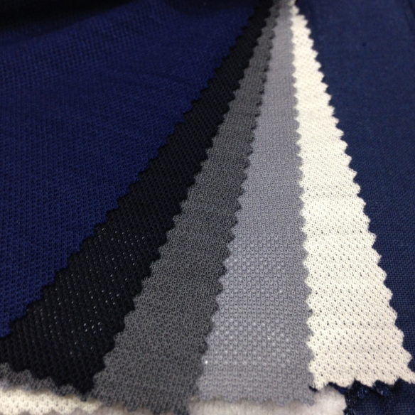 Navy Blue, Midnight Blue, Mid Grey, Light Grey and White Wool Pique (100% Wool)