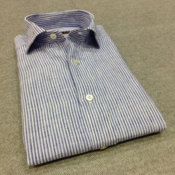 Blue Striped Linen (100% Linen)