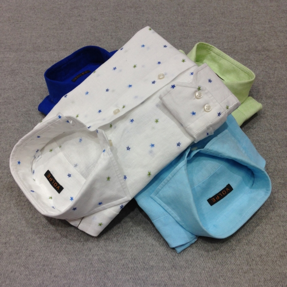 Floral White alongside Blue, Turquoise and Green Linen Shirts (100% Linen)