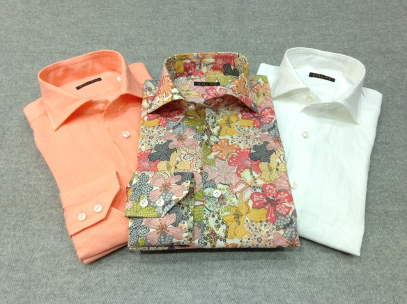 Liberty Print (100% Cotton) alongside Orange and White Linen Shirts (100% Linen)