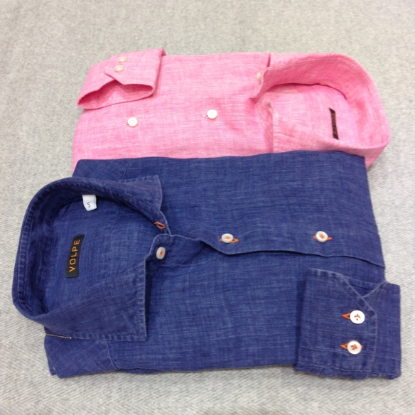 Dark Denim Blue with Orange Stitching and Pink Shirt (100% Linen)