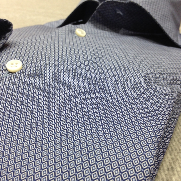 Diamond Patterned Navy Blue Shirt