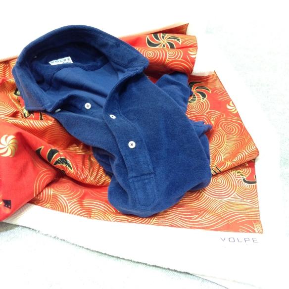 Navy Blue Towelling Pop-over Short sleeved Shirt