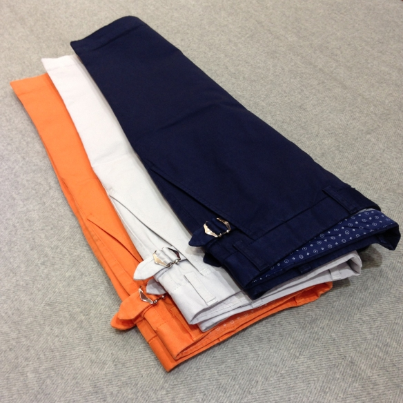 Orange, Stone and Navy Blue Stretch Cotton Shorts