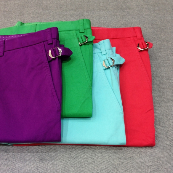 Purple, Green, Turquoise and Red Stretch Cotton Shorts