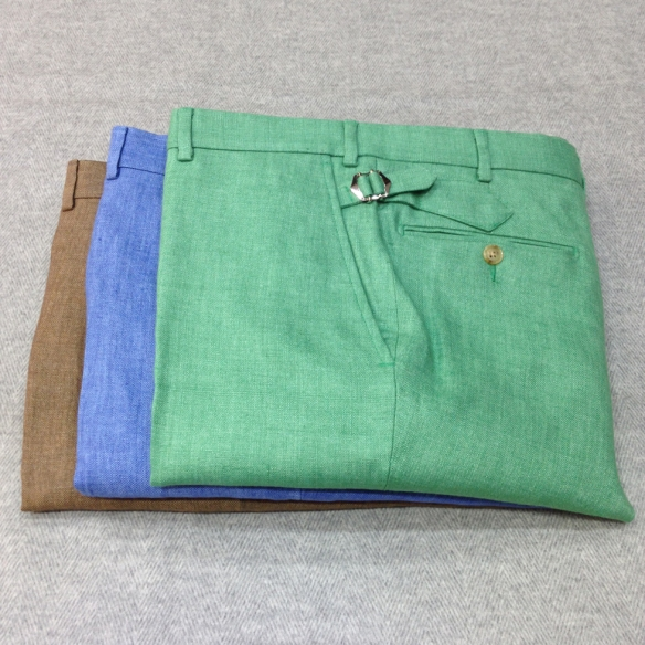 Brown, Blue and Green Linen Trousers (100% Linen)