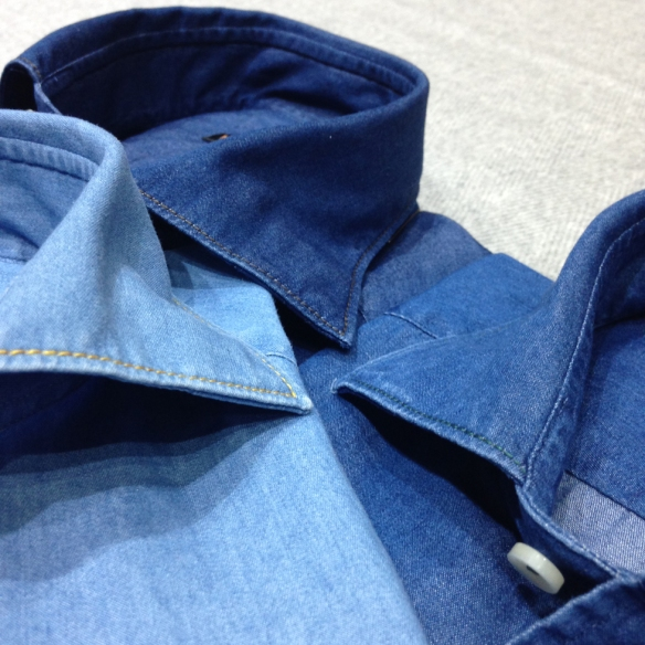 Denim with contrast stitching