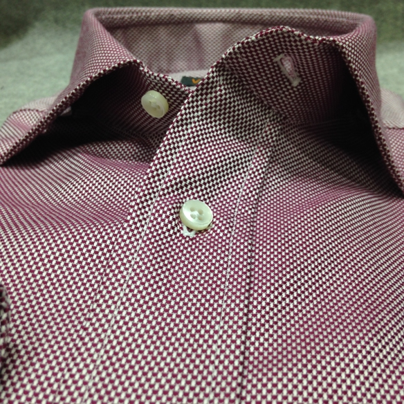 Burgundy and White Oxford Cotton