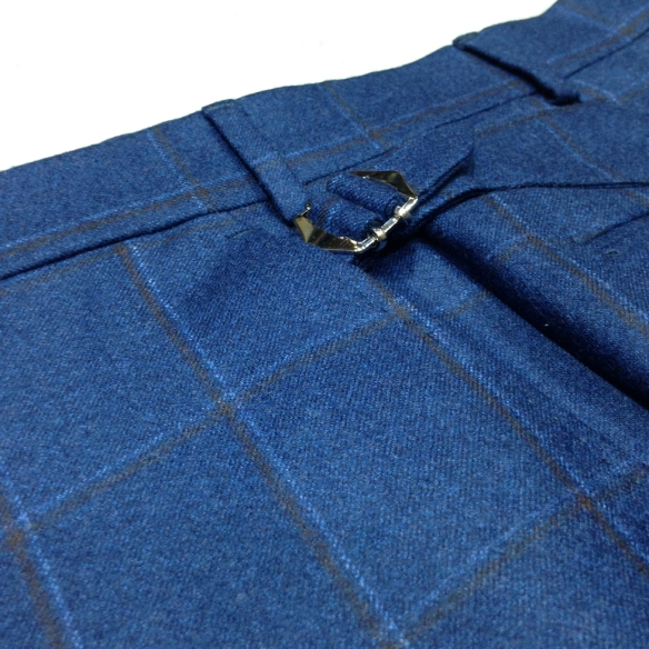 Blue with Brown Check Flannel Trousers
