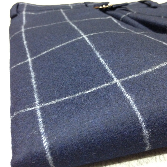 Blue Check Flannel Trousers
