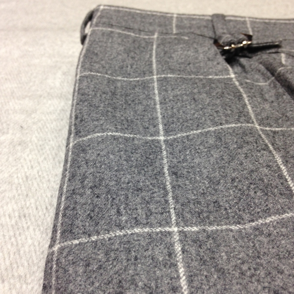 Grey Check Flannel Trousers