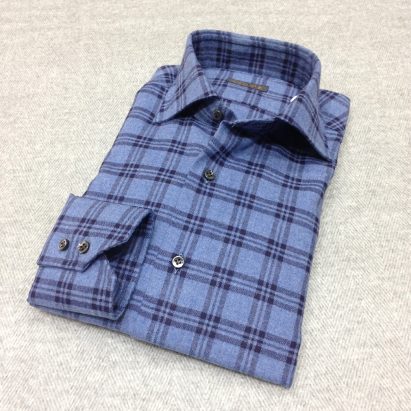 Light Blue with Dark Blue Check Brushed Cotton