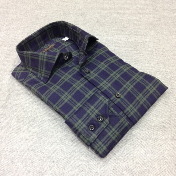Dark Blue with Green Check Brushed Cotton