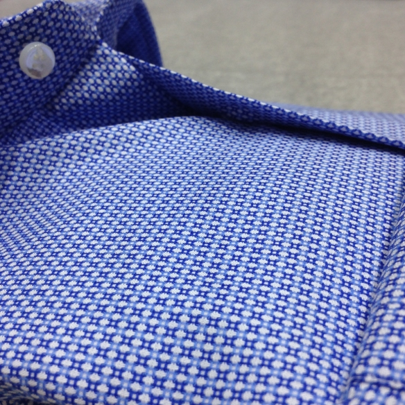 Blue and White woven Birdseye design