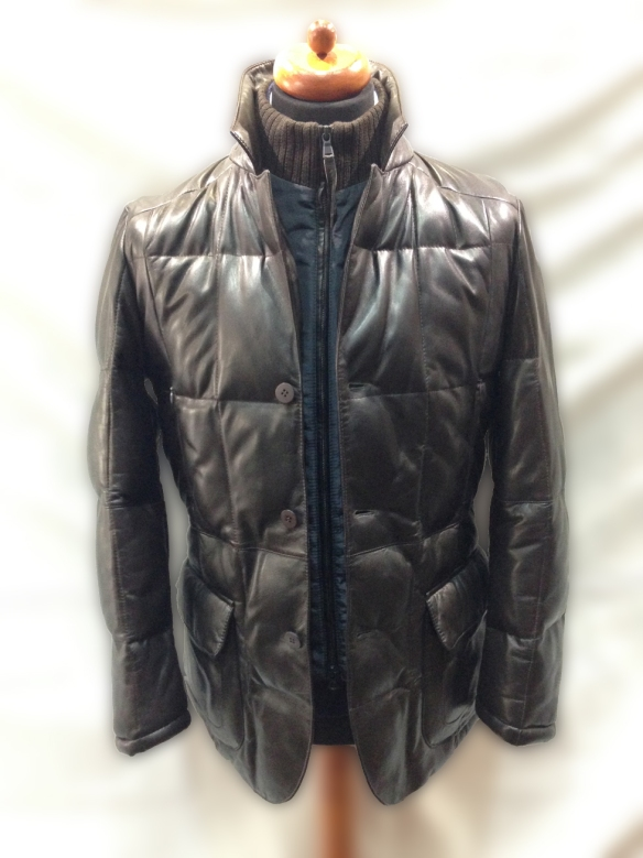 Brown Leather Jacket with Nylon insert