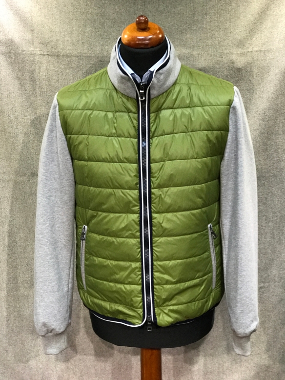 Green Nylon Micro Down filled with Grey Knitted Sleeves